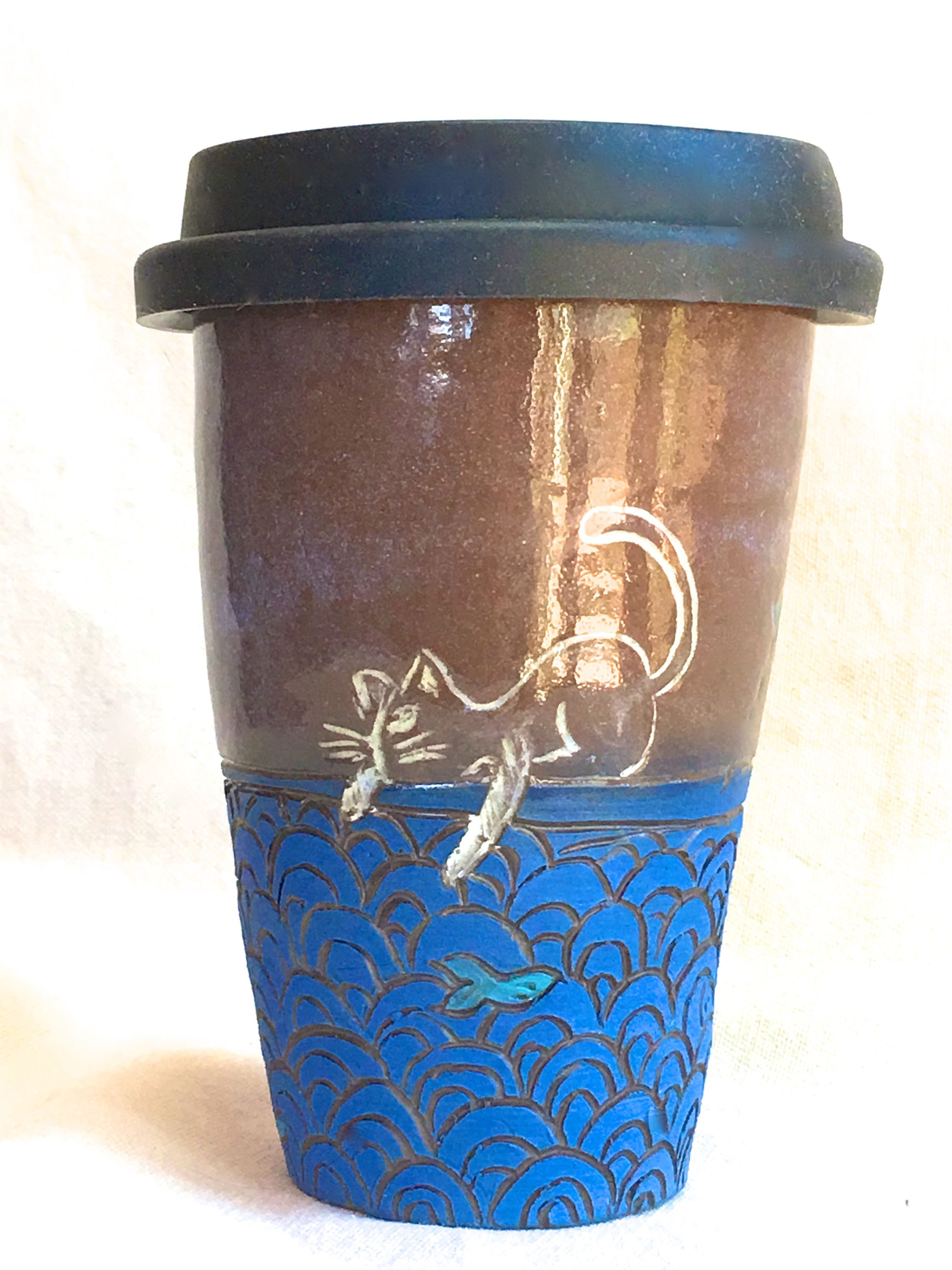 2 Cats Travel Mug Small Cup 8 Oz Ceramic With Black Silicone Lidded Coffee Hand Made Pottery Studio Second Eco By Funnfiber On