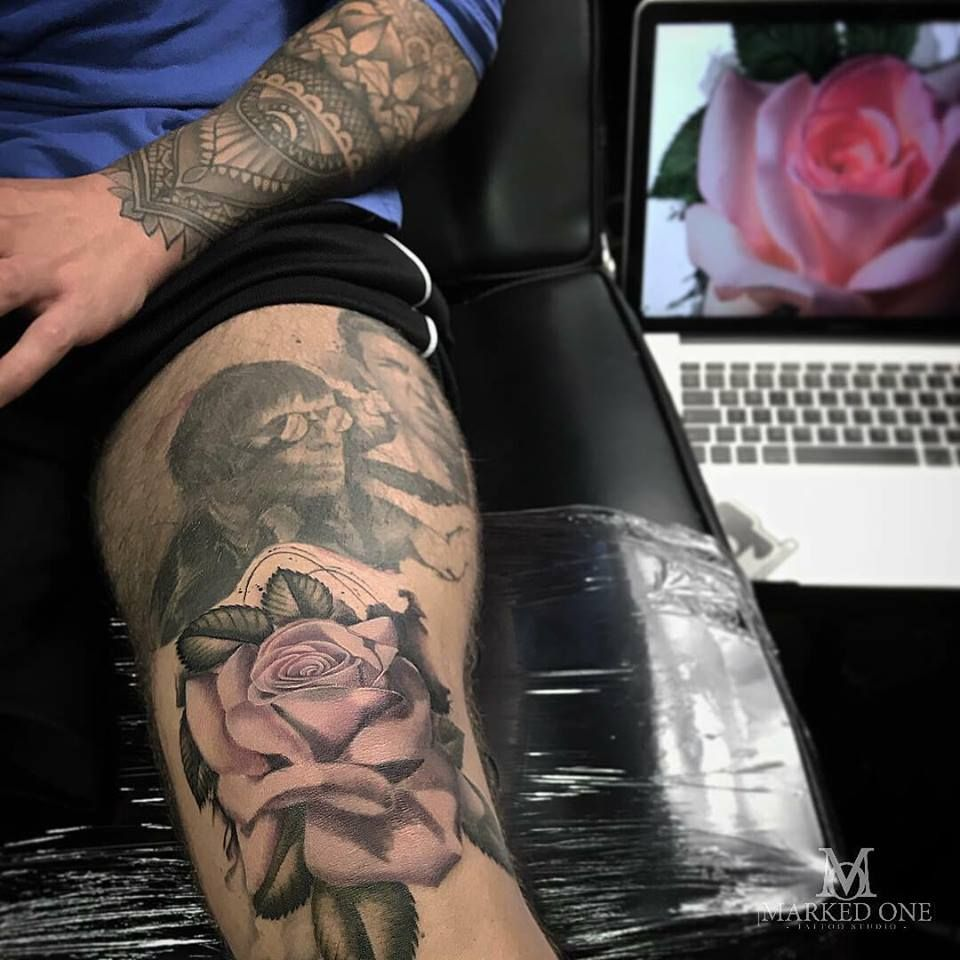 ac1215f89f4ef Super detailed realism colour Rose tattoo. Pink rose, knee tattoo by Adam  Thomas of Marked One Tattoo.