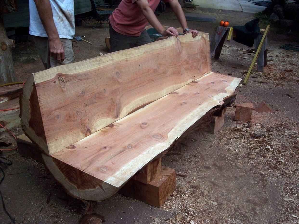 log bench slabs pinterest bench logs and log furniture