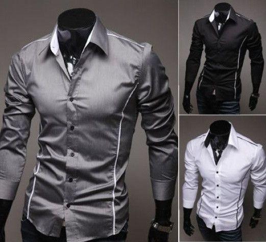 Dress Shirts Shirts Men Dress Shirt Long Sleeve Slim Brand Man Shirts Designer High Quality Solid Male Clothing Fit Business Shirt Mens Work Shir Sufficient Supply