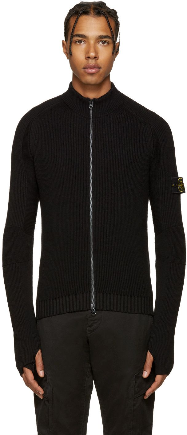 ef2dc8c1ea9439 STONE ISLAND Black Zip Knit Sweater. #stoneisland #cloth #sweater ...