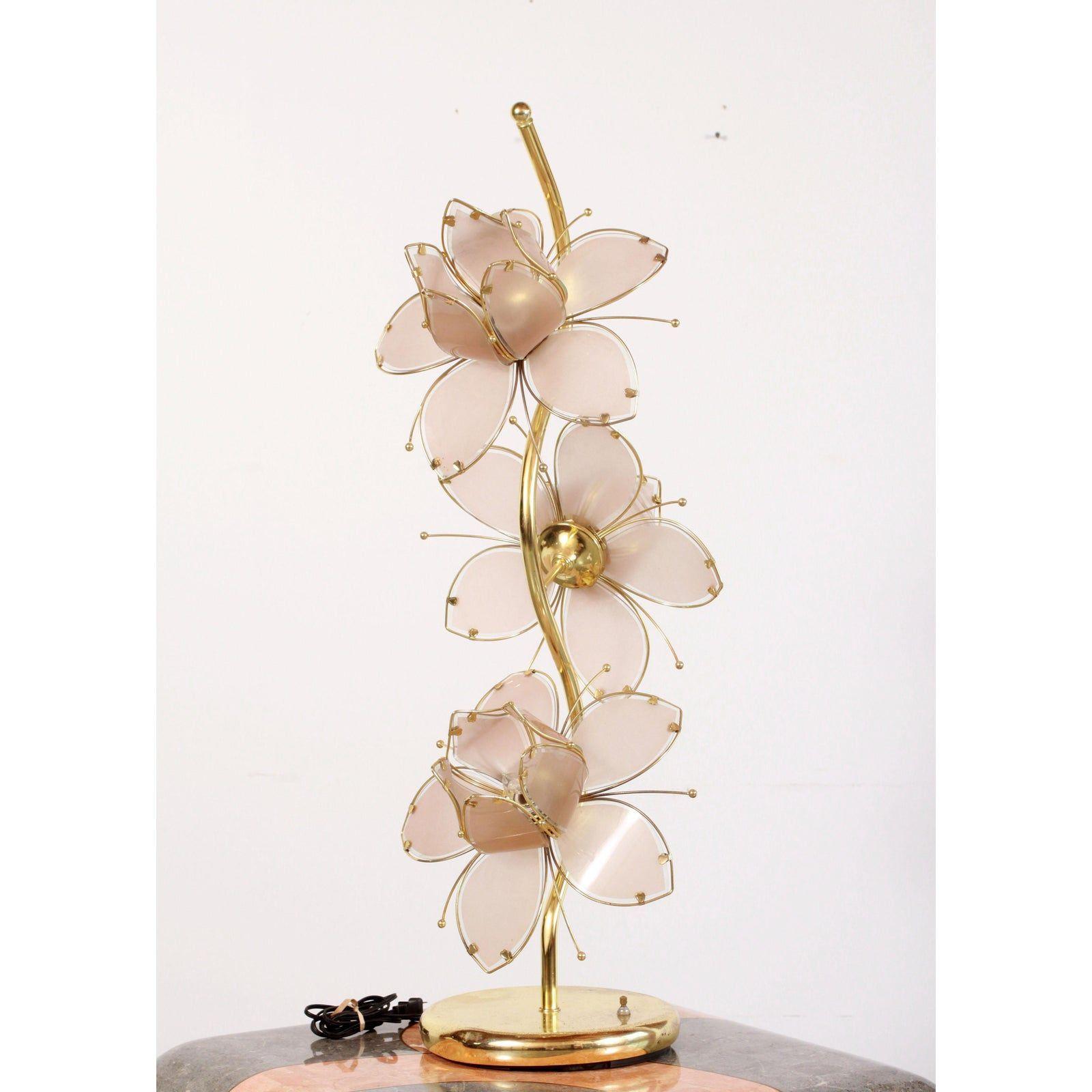 C 1980 S Vintage Brass Pink Italian Glass Lotus Table Lamp In 2020 Vintage Brass Statement Lamp Table Lamp