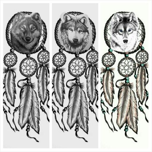 I 39 m loving both the first and third one i like the third for Wolf head dreamcatcher tattoo