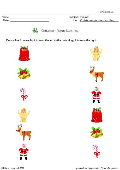 Primaryleap Co Uk Christmas Picture Matching Worksheet With Images Christmas Pictures Early Childhood Special Education Christmas