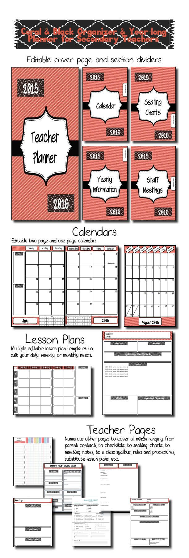This beautiful coral and black classroom organizer is just what secondary teachers need to get prepared in style for the new school year!  I have taught middle school for 15 years and I included the templates for every resource I have found I cannot live without and eliminated all of the excess that looks pretty in other organizers but never gets filled out or updated past the third week of school.  This product is EDITABLE in the form of PowerPoint so you can customize your pages!