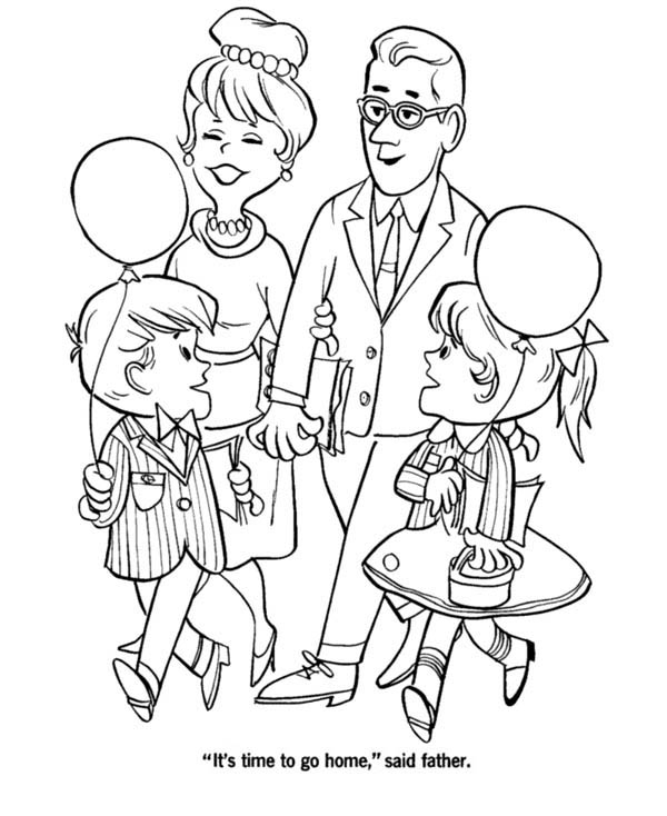 Big Family Visiting Grandparents On Gran Parents Day Coloring Page Netart Coloring Pages Parents Day Big Family