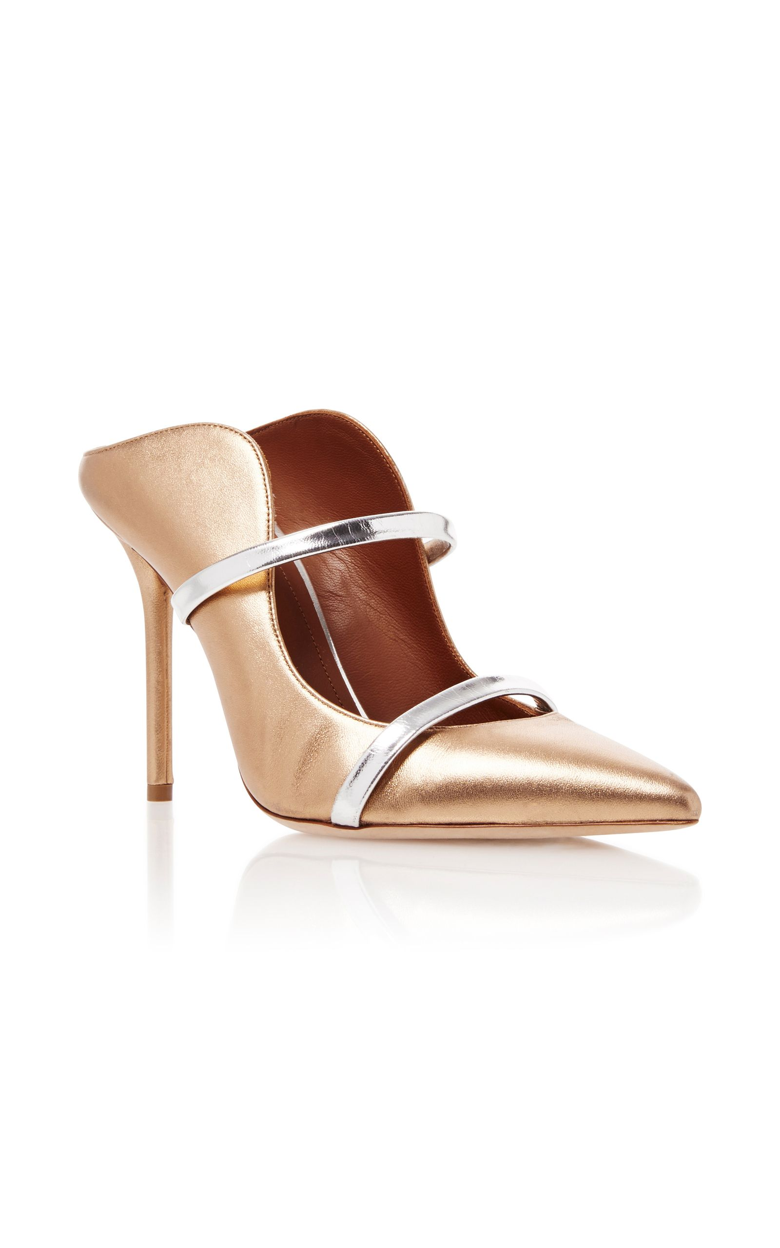 Leather mules, Gold leather, Leather pumps