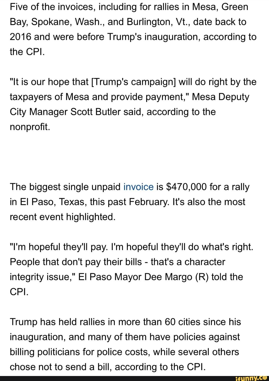 five of the invoices including for rallies in mesa green bay spokane wash and burlington vt date back to 2016 and were before trump s inauguration acco inauguration trump burlington pinterest