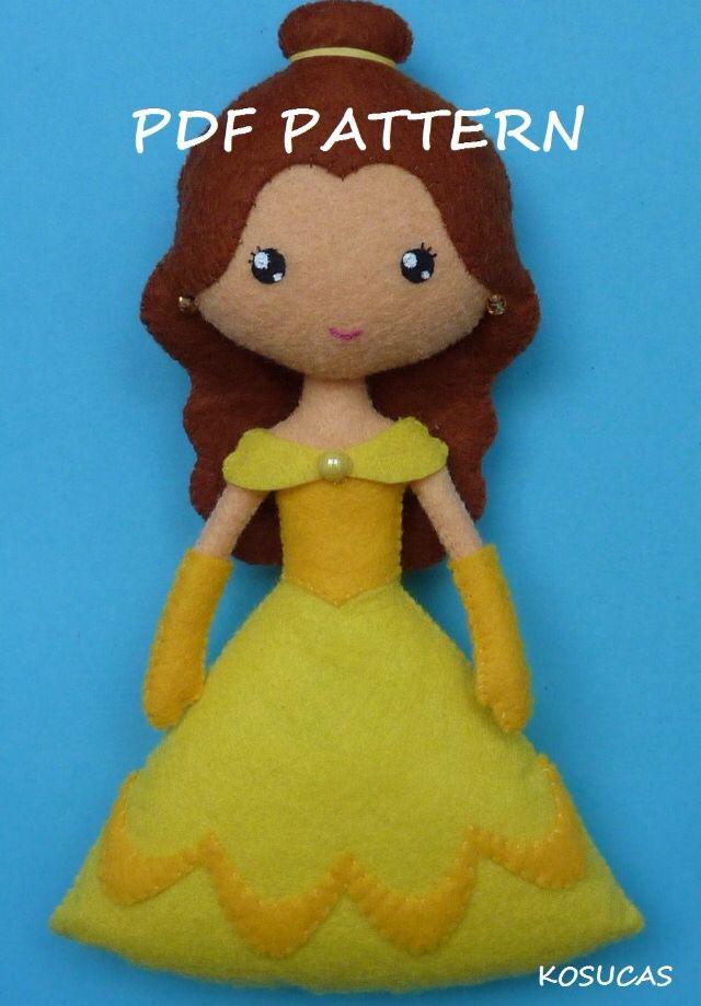 Belle ||| felt doll plush fabric stitch sew princess Disney Beauty and the Beast