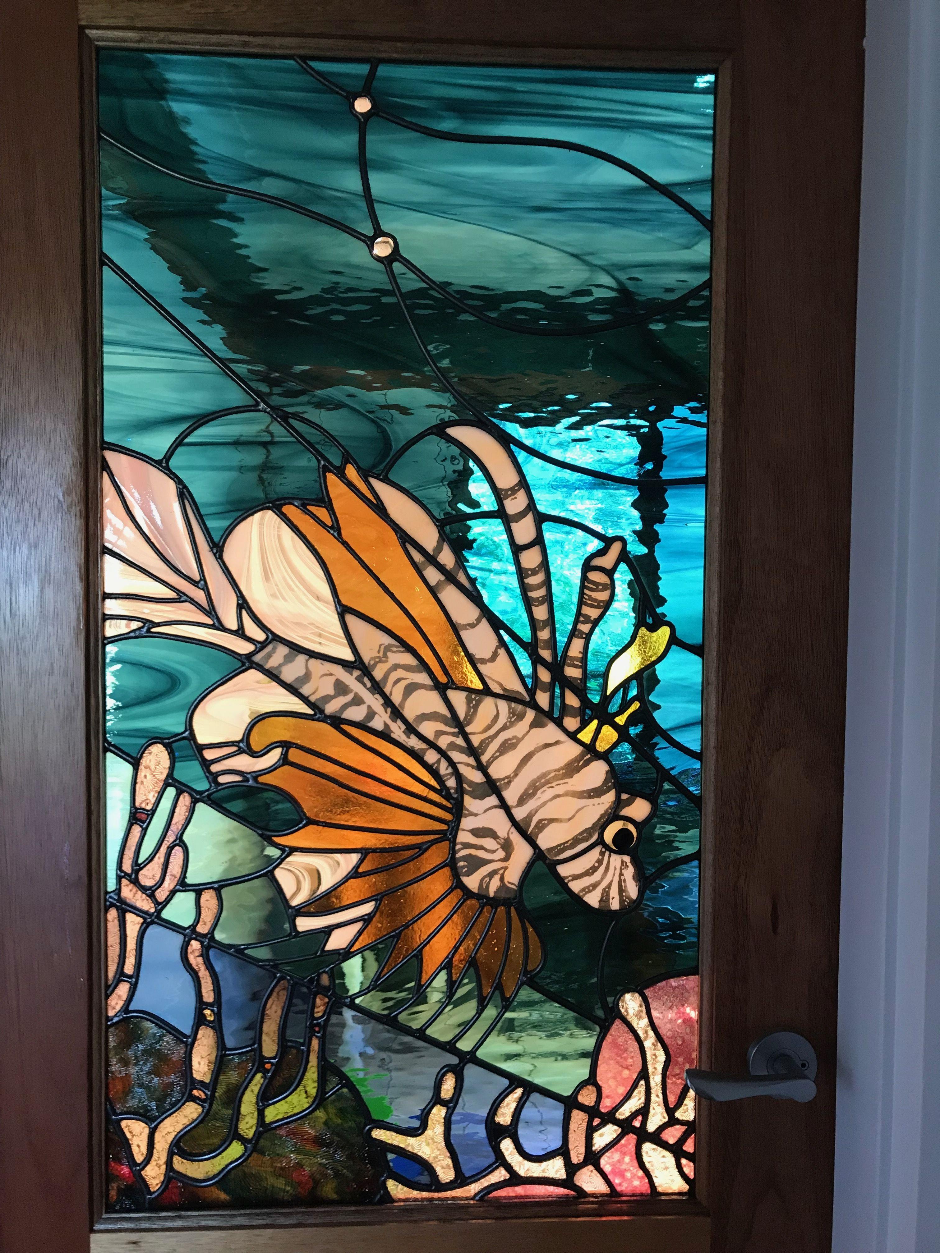 Lionfish bathroom door stained glass pinterest