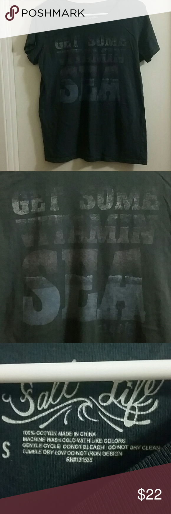 """Salt life vitamin sea tshirt Bought brand new at christmas time online. It is a really big fit for a small, baggy fit. Writing on the front says """"Get Some Vitamin Sea"""". Writing has a faded look to it, that's how it came, didn't look like the picture online. I washed it once to see if it would at least shrink alittle but it did not. Salt life Tops Tees - Short Sleeve"""