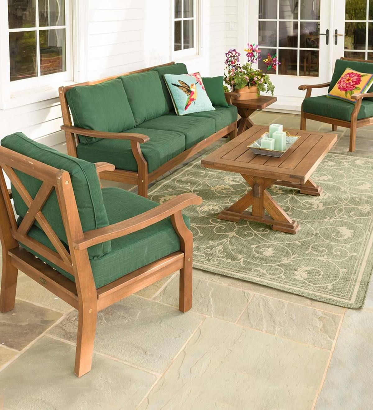 Claremont Seating Collection Eucalyptus Wood Outdoor Furniture