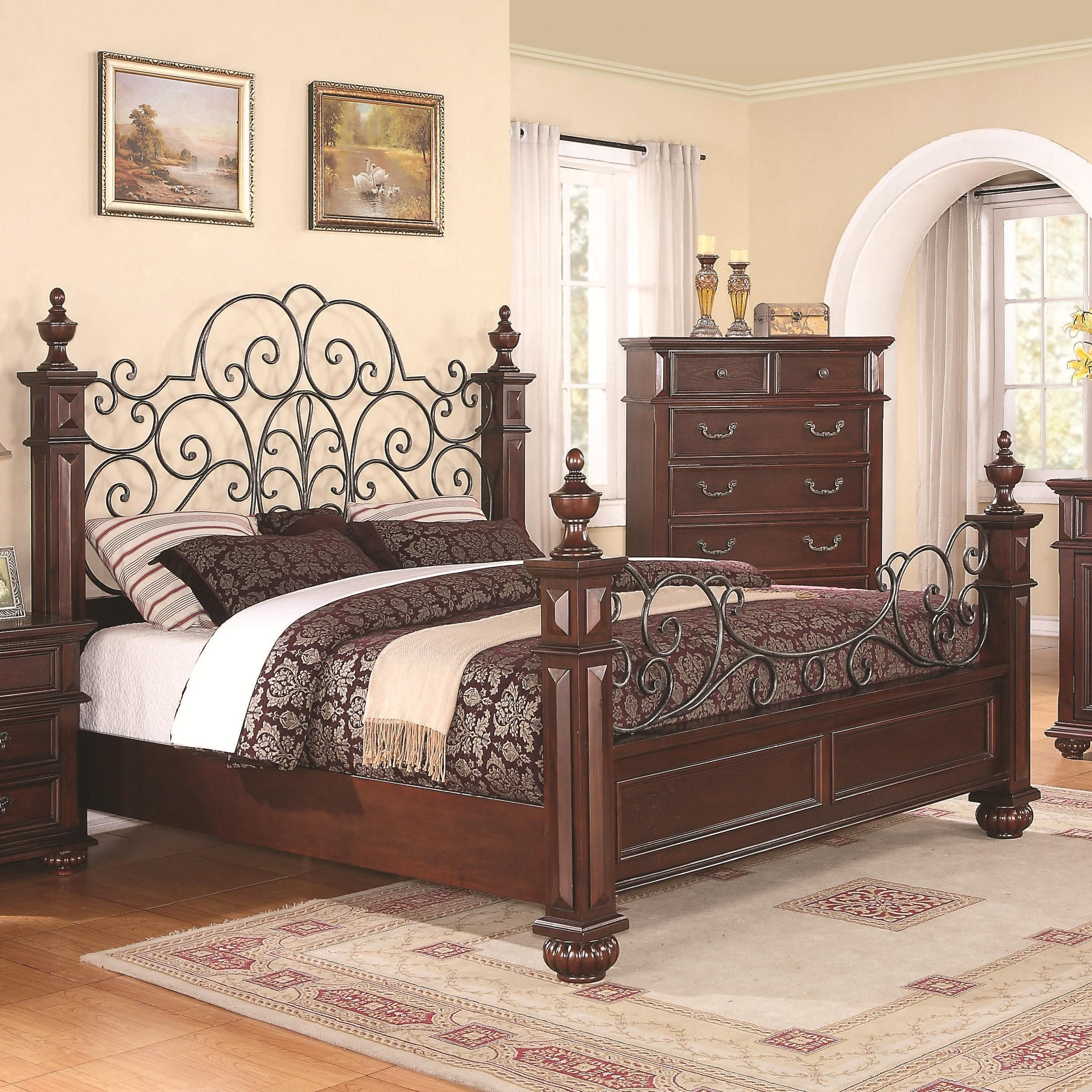 Low wood wrought iron king size bed dream home for Metal bedroom furniture