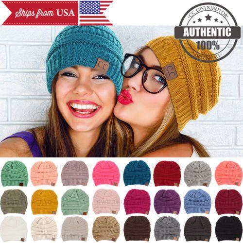 CC BEANIE New Women Cable Knit Super Cute Beanie Thick Cap Hat Unisex  Slouchy 18692ebb6e1