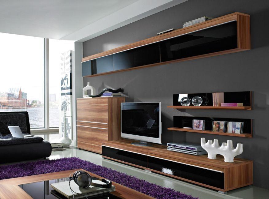 Fenja Wohnwand III Walnuss Schwarz Hochglanz Modern Wohnzimmer Living