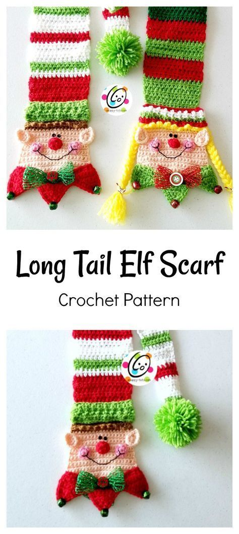 Pattern: Long Tail Snappy Elf Scarf | Crochet | Pinterest | Tejido ...