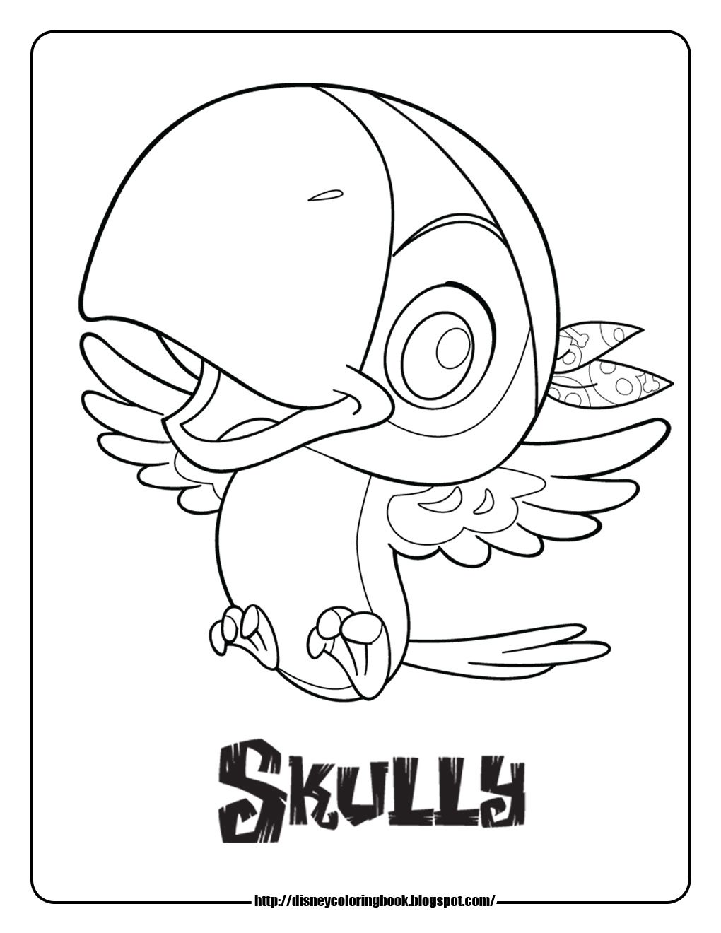 Jake and the never land pirates coloring pages skully for Jake neverland pirates coloring pages