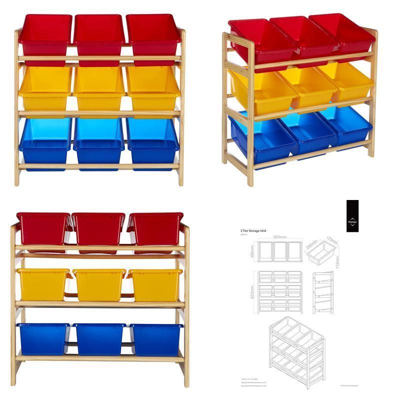 3 Tier Storage Unit With Pine Frame 9 Plastic Coloured Storage Bins Toy  Boxes