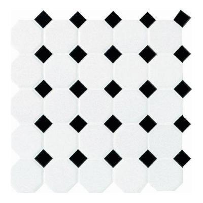 Daltile 12 in. x 12 in. White with Black Ceramic Octagon/Dot ...
