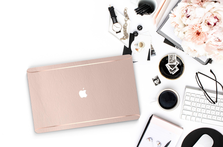 Warm Vellum Leather Macbook Case . Rose Gold Blush Leather