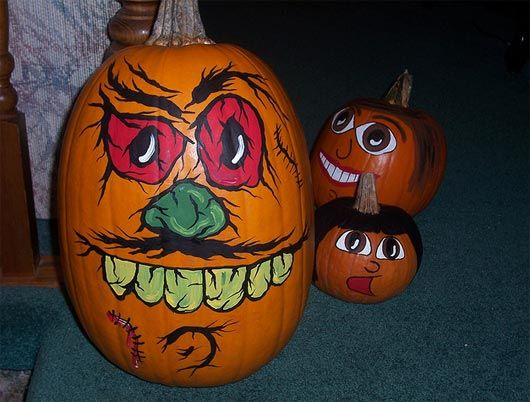 Halloween pumpkin painting designs 30 funny faced Funny pumpkin painting ideas