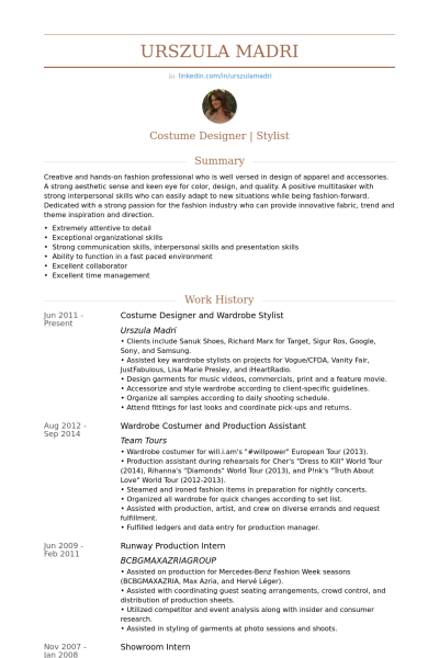 costume designer    wardrobe stylist resume example