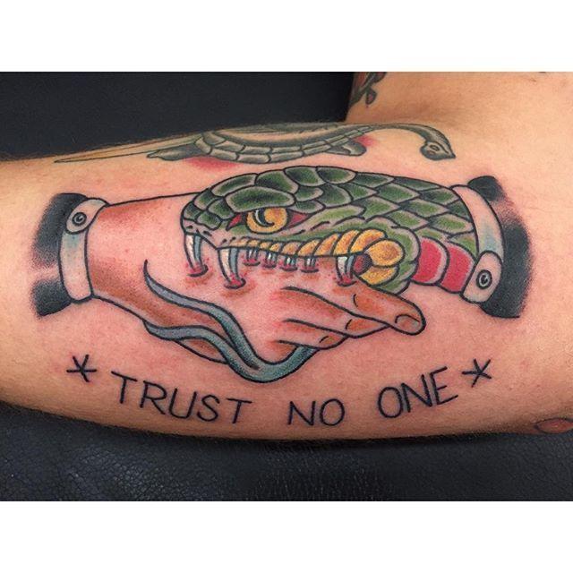 The Hand That Bites Snake Handshake Tattoos Tattoos Tattoos