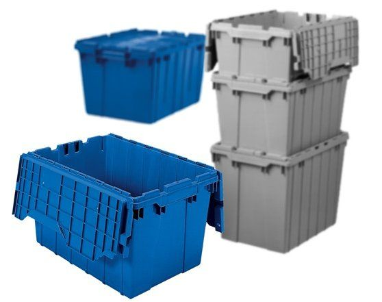 Akro Mils 39120 12 Gallon Industrial Grade Attached Lid Flip Top Tote Case Of 6 For 95 Hinged Lid Case Tote