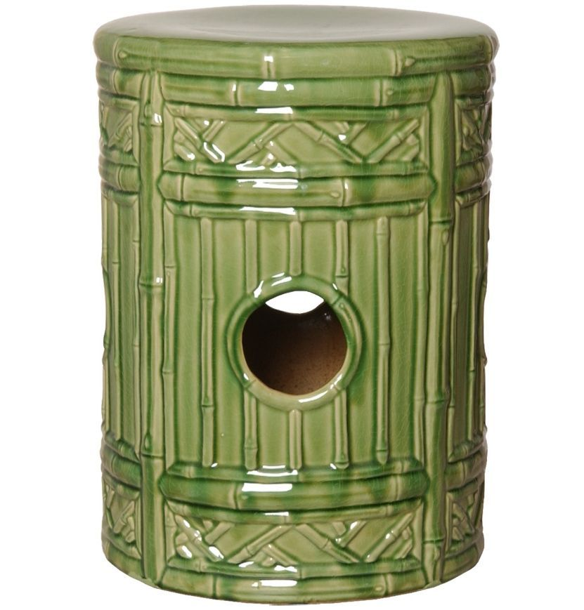 Remarkable Bamboo Motif Ceramic Garden Stool In Light Green Moss Palm Pabps2019 Chair Design Images Pabps2019Com