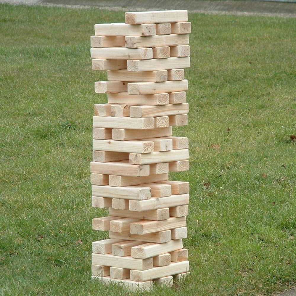 outdoor garden family fun game giant wooden tumbling jenga tower