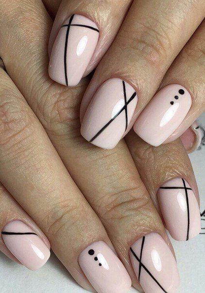 Pink W Simple Black Design Nails Pinterest Manicure Black