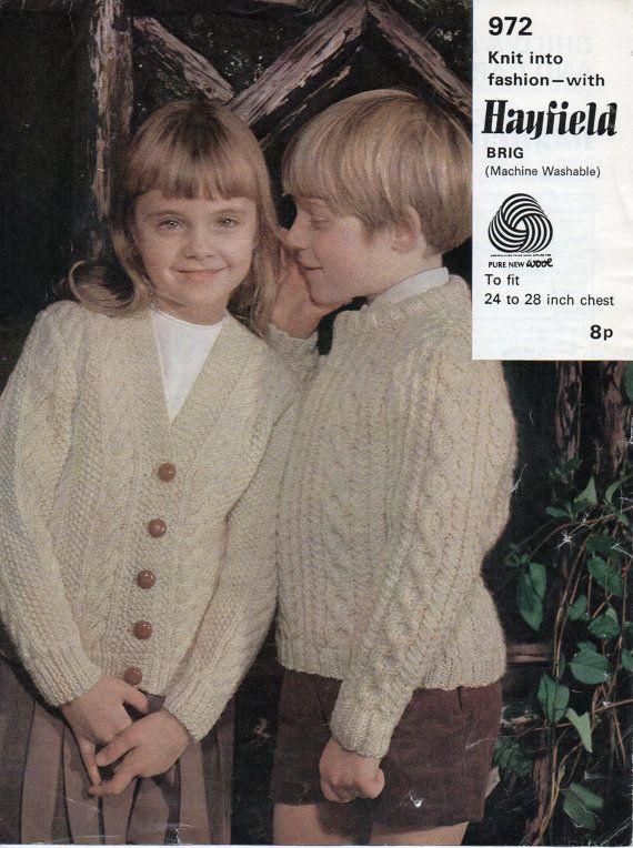 Vintage childs childrens aran cardigan sweater knitting pattern childrens aran cardigan sweater knitting pattern cable sweater 24 28 inch aran yarn childrens dt1010fo