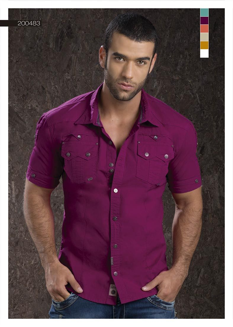 09d022fb52 Camisa-para-hombre-color-violeta-manga-corta -violet-shirt-for-men-  short-sleeved