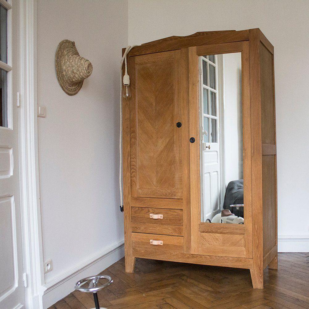 Restaurer Un Meuble En Chene Vernis image of armoire chêne naturel verni mat avec miroir