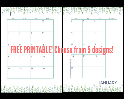 2 Page Calendar Template 2019 2019 Monthly Calendar Two Page Spread   Free Printable
