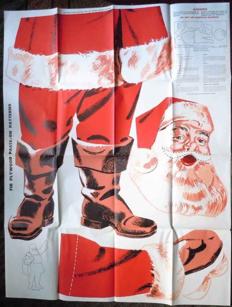 Christmas Cutout Patterns.Vintage 1956 Christmas Douglas Fir Plywood Santa Claus