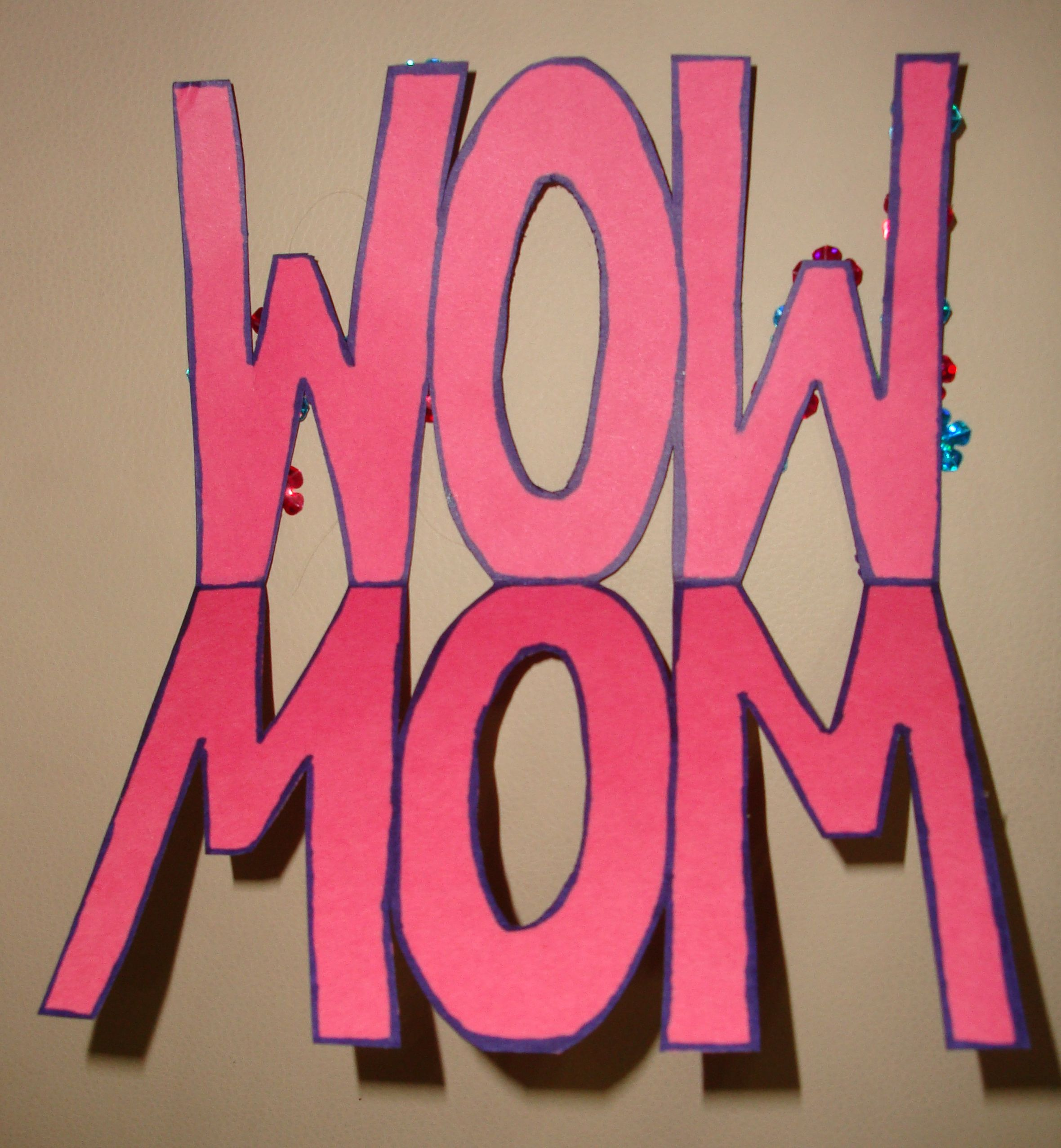 "Preschool Crafts for Kids Mother s Day ""WOW MOM"" Card Craft"