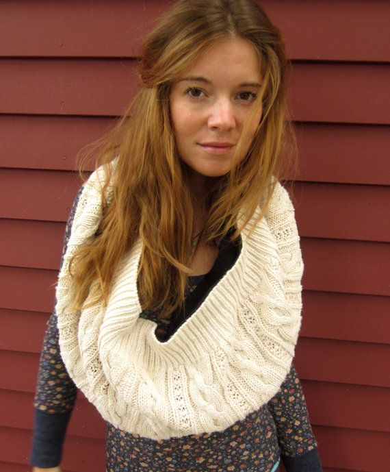 Eco Chic Creamy White Cotton Cable Knit Sweater Neckwarmer Cowl Shawl Scarf by MountainGirlClothing. $30.00, via Etsy.