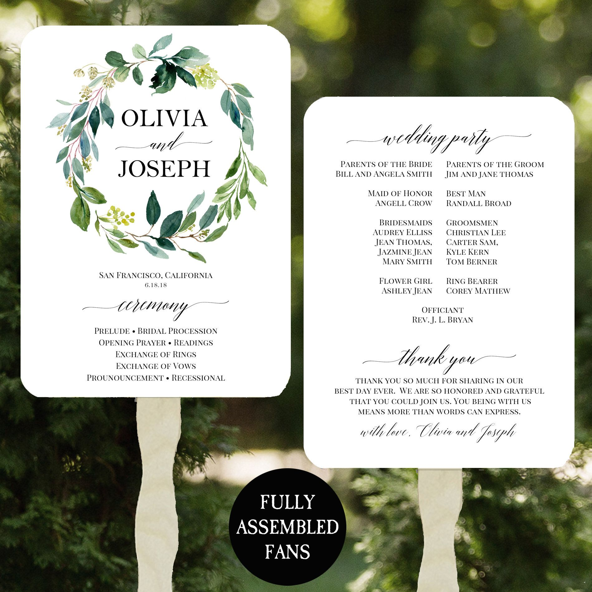 Wedding Program Fans Printable Or Printed Assembled With Free
