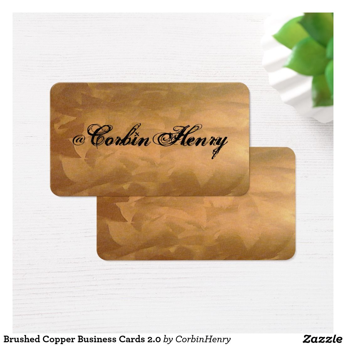 Brushed Copper Business Cards 2.0 Social Media Business Cards 2.0 ...