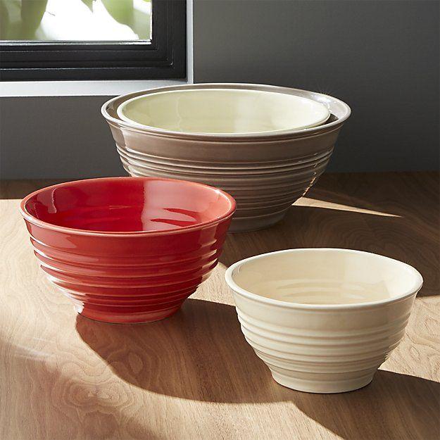 Ravenna Nesting Ceramic Bowls Set Of 4 Crate And Barrel Cream Kitchen Accessories Handmade Bowl Ceramic Bowls