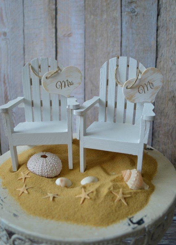 Beach Chairs Beach Wedding Cake Topper Bride Groom Chairs