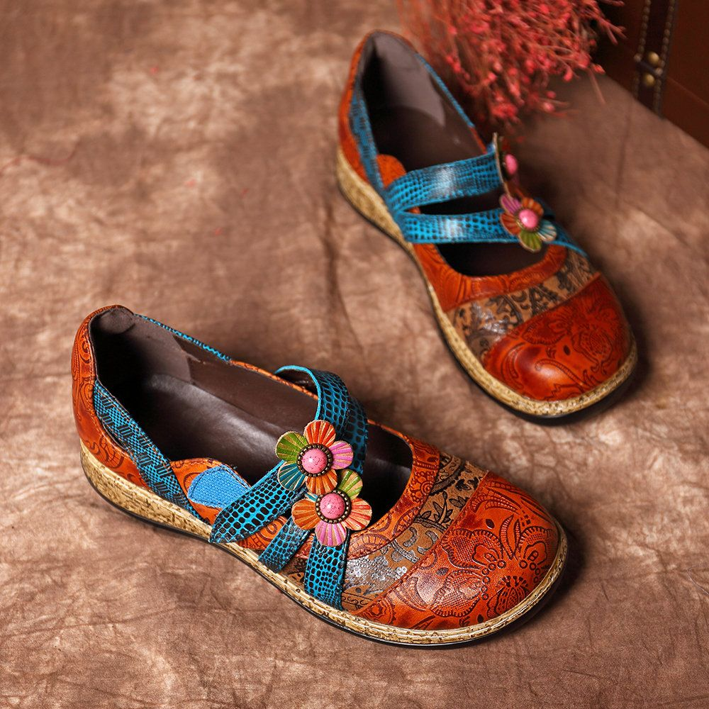 f6a23d5f2c1d3 Hot-sale Socofy SOCOFY Vintage Floral Genuine Leather Splicing Colored Band  Stitching Hook Loop Flat Shoes - NewChic Mobile