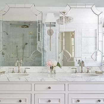 Mirror On Top Of Vanity Mirror Transitional Bathroom Glamorous