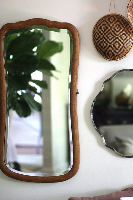 vintage mirrors and baskets