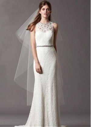 Buy discount Alluring Satin&Lace Mermaid Illusion High Neckline Natural Waistline Wedding Dress at Dressilyme.com by Dressilyme.com