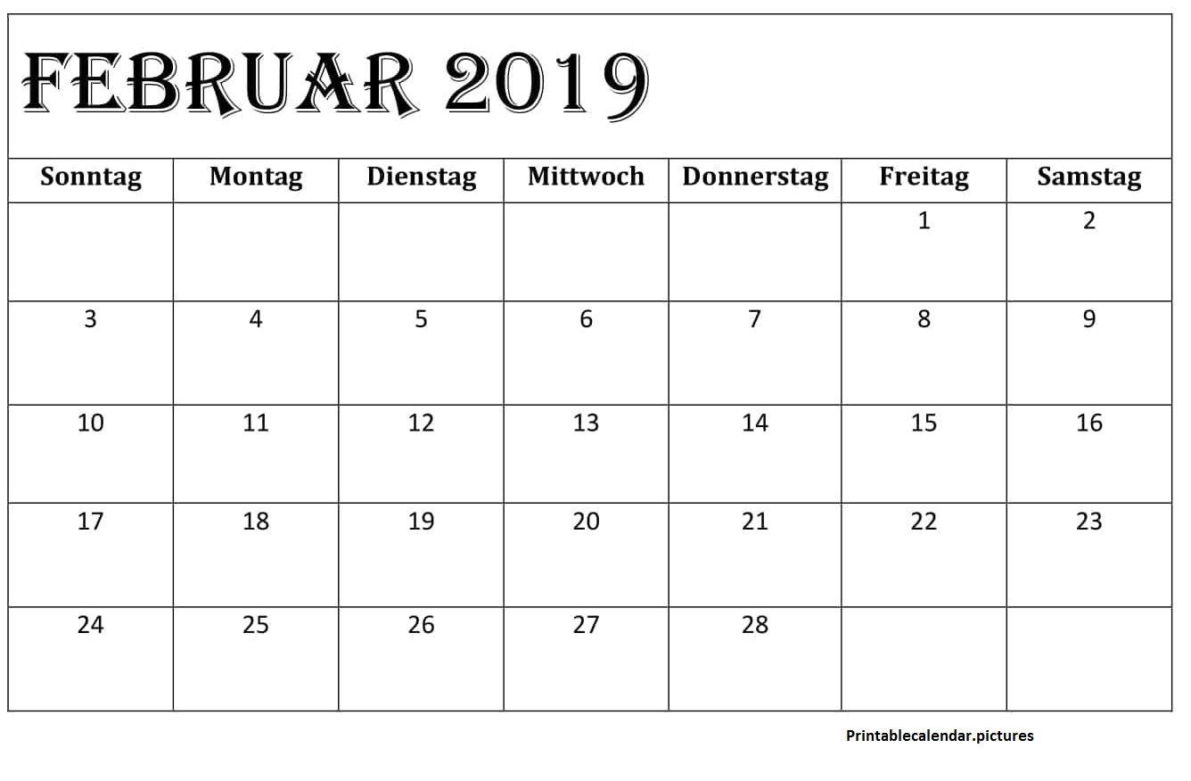 Kalender Februar 2019 Zum Ausdrucken Feiertage Excel Calendar