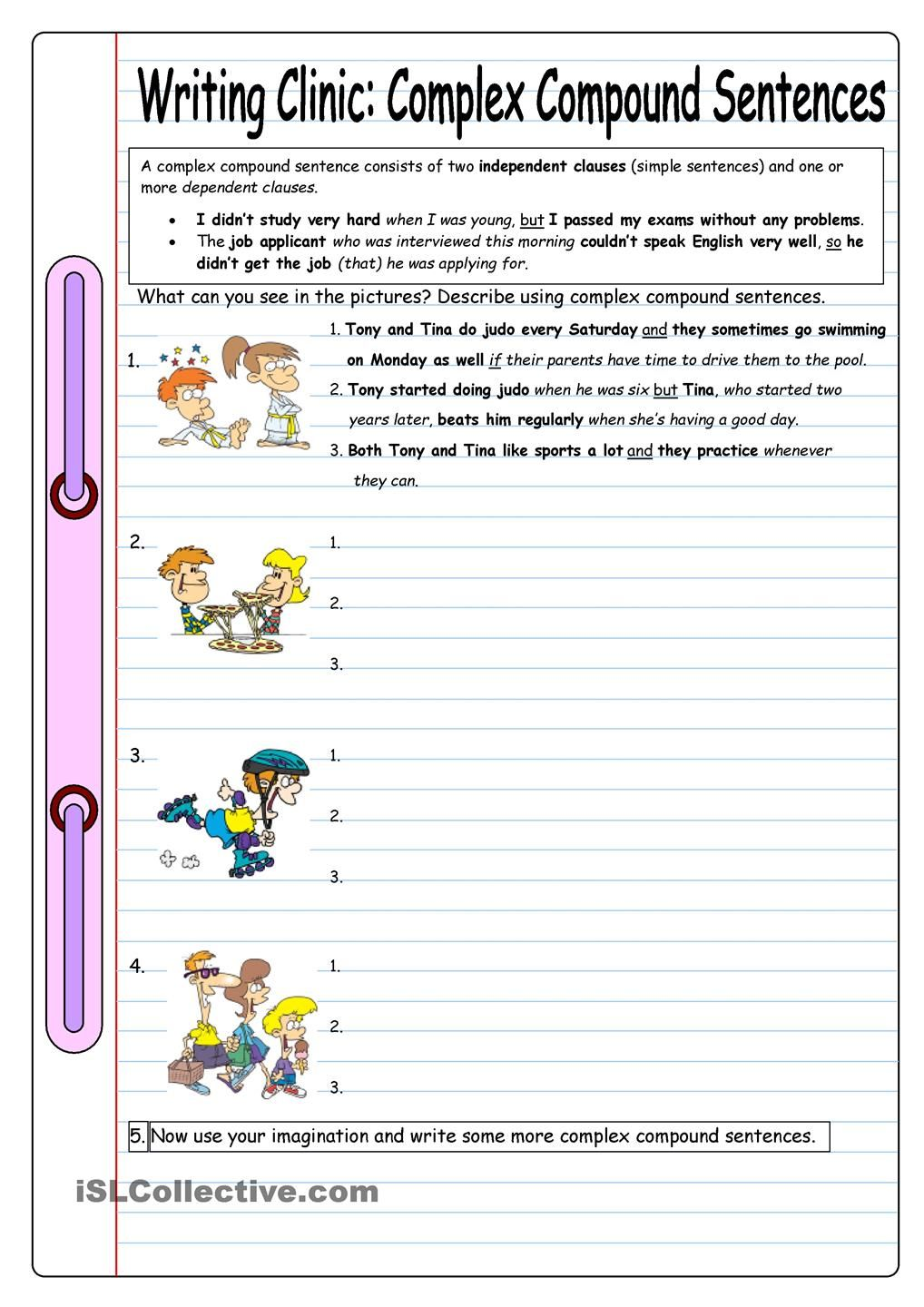 worksheet Compound Complex Sentence Worksheets writing clinic complex compound sentences school pinterest worksheet free esl printable worksheets made by teachers