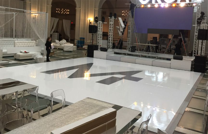 A single roll of high gloss white removable floor vinyl