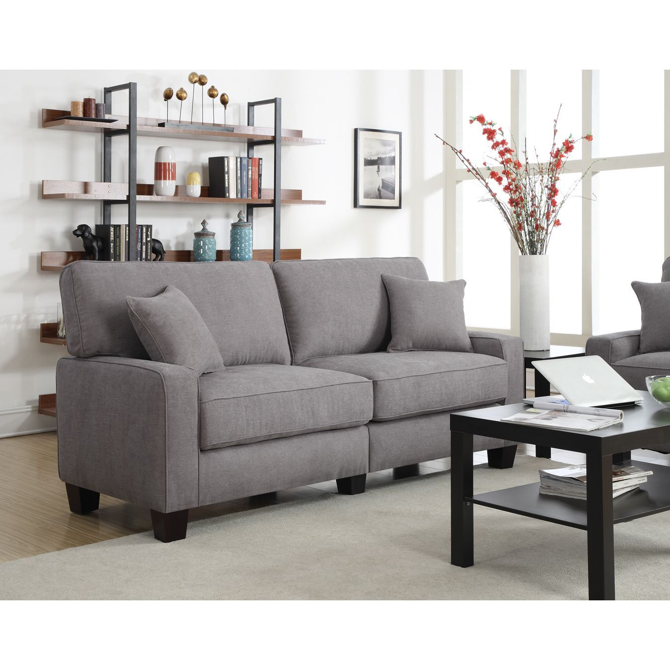 Serta RTA Martinique Collection 61 Inch Kona Grey Fabric Loveseat Sofa